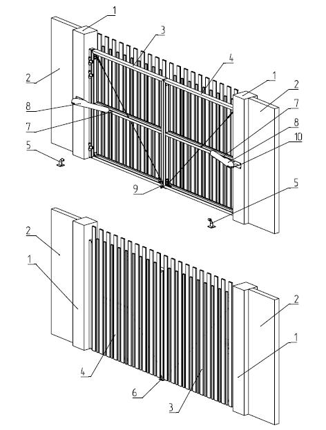 Конструкция распашных ворот серии ADS 400